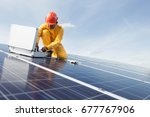 engineer working on checking... | Shutterstock . vector #677767906