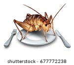 eat bugs and eating insects as... | Shutterstock . vector #677772238