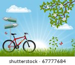 summer landscape with a bike.... | Shutterstock .eps vector #67777684