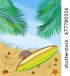 vector image. sandy beach with... | Shutterstock .eps vector #677780326