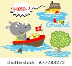 rhinoceros the lifeguard ... | Shutterstock .eps vector #677783272