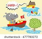 rhinoceros the lifeguard ... | Shutterstock .eps vector #677783272