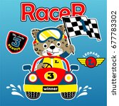 car racing with happy racer ... | Shutterstock .eps vector #677783302