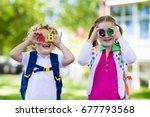 children go back to school....   Shutterstock . vector #677793568
