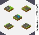 isometric road set of asphalt ... | Shutterstock .eps vector #677816452