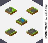 isometric road set of asphalt ...   Shutterstock .eps vector #677816452