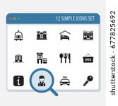 set of 12 editable plaza icons. ... | Shutterstock .eps vector #677825692