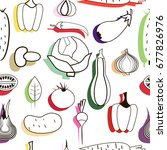 set of vegetables. pattern | Shutterstock .eps vector #677826976