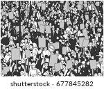 illustration of protesting... | Shutterstock .eps vector #677845282