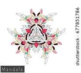 floral symmetrical geometrical... | Shutterstock .eps vector #677851786