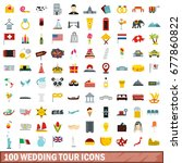 100 wedding tour icons set in...   Shutterstock . vector #677860822