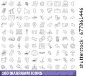 100 diagramm icons set in... | Shutterstock . vector #677861446