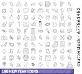 100 new year icons set in... | Shutterstock . vector #677861482