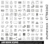 100 book icons set in outline... | Shutterstock . vector #677861662