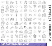 100 cartography icons set in... | Shutterstock . vector #677861668