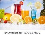 variety of cold drinks  summer | Shutterstock . vector #677867572