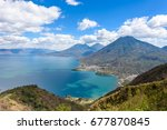 viewpoint at lake atitlan with... | Shutterstock . vector #677870845