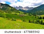 panorama val di funes italy | Shutterstock . vector #677885542