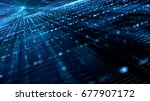 digital cyber space particles... | Shutterstock . vector #677907172