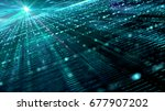 digital cyber space particles... | Shutterstock . vector #677907202