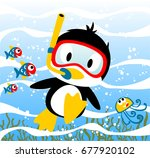 penguins diving time with... | Shutterstock .eps vector #677920102