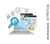 computer to marketing business... | Shutterstock .eps vector #677927116