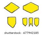 set of hand drawn blank badge... | Shutterstock .eps vector #677942185