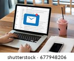 mail communication connection... | Shutterstock . vector #677948206