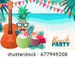 guitar  pineapple man  boy ... | Shutterstock .eps vector #677949208