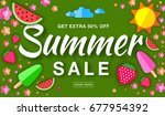 summer sale template horizontal ... | Shutterstock . vector #677954392