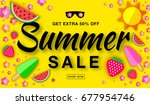 summer sale template horizontal ... | Shutterstock . vector #677954746