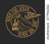 racer skull in winged helmet...   Shutterstock .eps vector #677966362