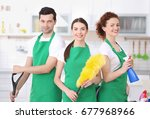 cleaning service team working... | Shutterstock . vector #677968966