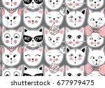 vector fashion cat seamless... | Shutterstock .eps vector #677979475