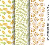 set of  seamless autumn pattern ... | Shutterstock .eps vector #677984752