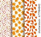 set of  seamless autumn pattern ...   Shutterstock .eps vector #677984842
