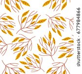 seamless autumn pattern with... | Shutterstock .eps vector #677984866
