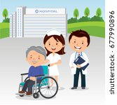 medical staff and elderly man... | Shutterstock .eps vector #677990896