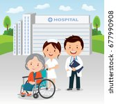 medical staff and elderly woman ... | Shutterstock .eps vector #677990908