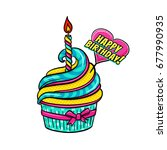 tasty colorful cupcake with a... | Shutterstock .eps vector #677990935