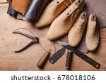 cobbler tools in workshop on a... | Shutterstock . vector #678018106