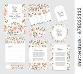 vector gentle wedding cards... | Shutterstock .eps vector #678033112