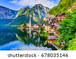 Stock photo hallstatt austria mountain village in the austrian alps at sunrise 678035146