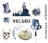 watercolor halloween set. hand... | Shutterstock . vector #678038305