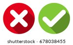 cross   check mark icons  flat... | Shutterstock .eps vector #678038455