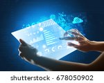 young female hand holding a...   Shutterstock . vector #678050902