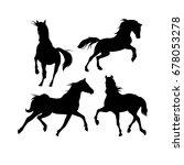 silhouettes of horses  vector | Shutterstock .eps vector #678053278