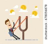 businessman in a slingshot... | Shutterstock .eps vector #678056878