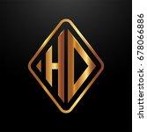 golden monogram logo curved... | Shutterstock .eps vector #678066886