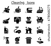 cleaning icons | Shutterstock .eps vector #678068275